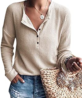 UUYUK Women Henley Shirts V-Neck Casual Long Sleeve Button Up Knit Waffle Tunic Tops