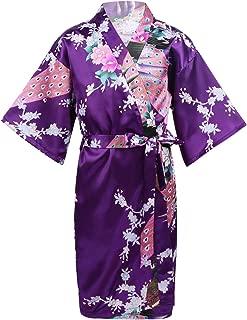 Dolamen Bambini Ragazza Ragazzo Kimono Vestaglia Pigiama Raso di seta del pavone e fiori Robe Accappatoio per matrimoni nuziali