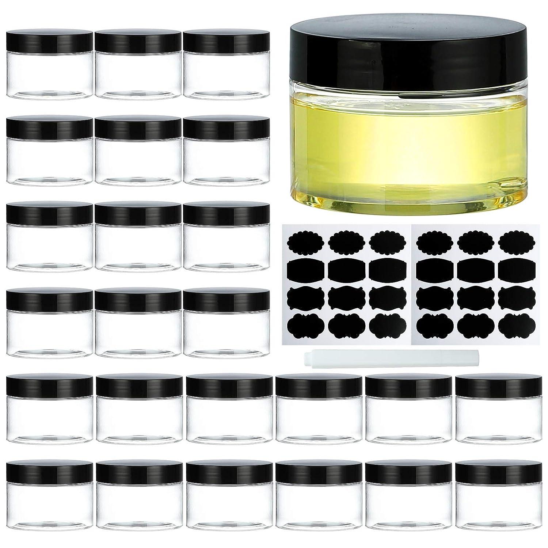 Dallas Mall Plastic 4 years warranty Jars with Lids Dabacc Travel 24Pcs Si Clear 4Oz