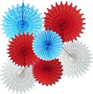 Dr Seuss Cat in The Hat Party/Dr Seuss Decoration Turquoise White Red Tissue Paper Fans for Baby Shower Decorations/Circus Carnival Party Decorations/Airplane Birthday Party Decorations