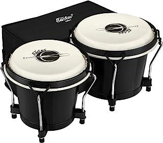 """طبل های Eastar Bongo Drums 6 """"و 7"""" Congas برای کودکان بزرگسال بزرگسالان مبتدی حرفه ای سازهای سازهای کوبه ای Bongos برای کودکان بزرگسالان مبتدی با کیف و تنظیم آچار ، سیاه ، EBO-1"""