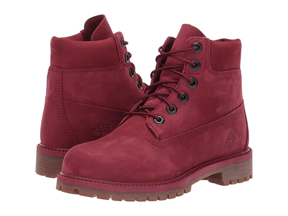 Timberland Kids 6 Premium Waterproof Boot (Big Kid) (Burgundy Nubuck) Kids Shoes