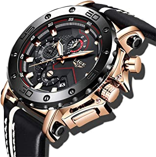 c44874702 LIGE Mens Watches Waterproof Sport Analogue Quartz Watch for Man Gold Luxury  Chronograph Large Dial Military