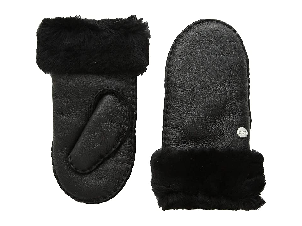 UGG Kids Water Resistant Sheepskin Mitten (Toddler/Little Kids) (Black Leather) Extreme Cold Weather Gloves