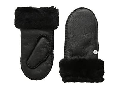 UGG Kids Water Resistant Sheepskin Mitten (Toddler/Little Kids) (Black Leather) Extreme Cold Weather Gloves