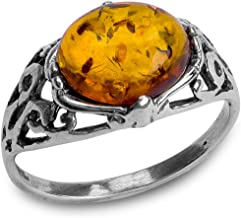 Ian and Valeri Co. Baltic Amber Sterling Silver Prong Ring
