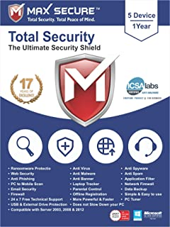 Max Secure Software Total Security for PC 2019 | Antivirus | Internet Security | 5 Device | 1 Year | (Activation Key Card)