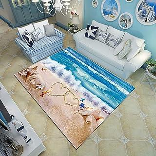 3d Ocean Pattern Floor Mat,Gravelly Bottom Wavy Surface Area Rug,Tropical Seascape Underwater Carpet,Living Dinning Room B...