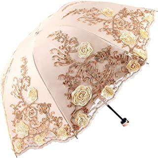 Honeystore Sun Protection Vintage Lace Parasol Decorative Umbrellas for Wedding BM1820 Yellow