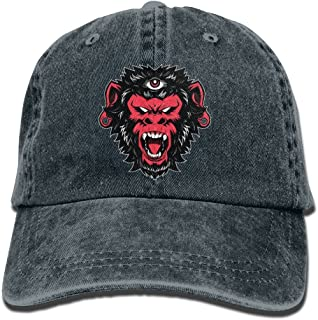 Denim Cap Dad Baseball Hat Angry Red Monkey Women&Men