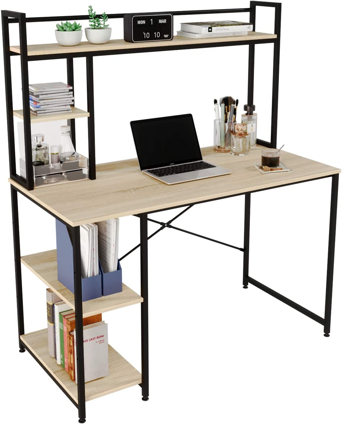 Bestier Computer Desk with Hutch & Bookshelf (Light Oak, 47
