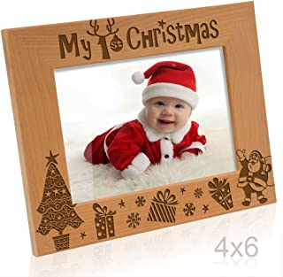 Kate Posh My 1st Christmas Picture Frame, My First, Baby's 1st Christmas, New Baby, Santa & Me Engraved Natural Wood Photo Frame (4x6-Horizontal - Classic)