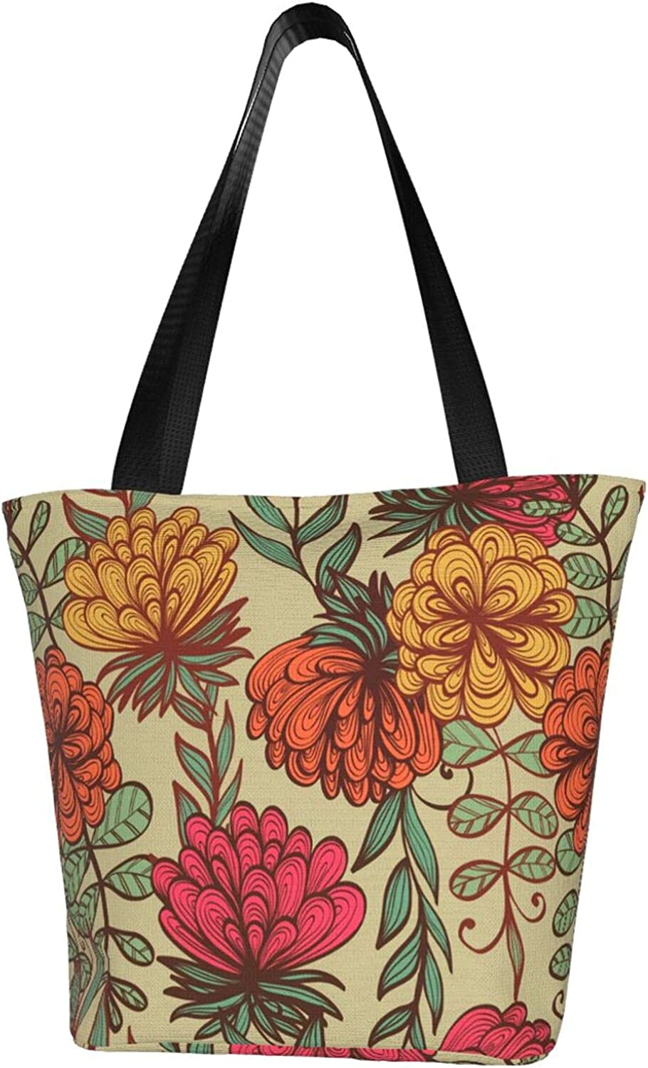 Women's shoulder bag with Zipper Motif of Entangled Floral Branch 1 Tote Casual Hobo Bags canvas Handbags