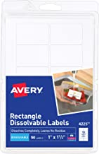 Avery Dissolvable Rectangle Labels, 1 x 1-1/2, Pack of 50 (4225)
