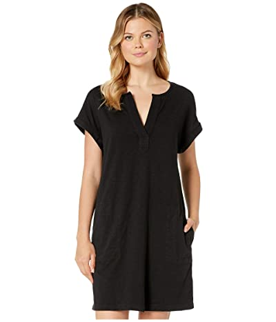 Mod-o-doc Heavier Slub Notch Neck Dress with Gauze Placket (Black) Women