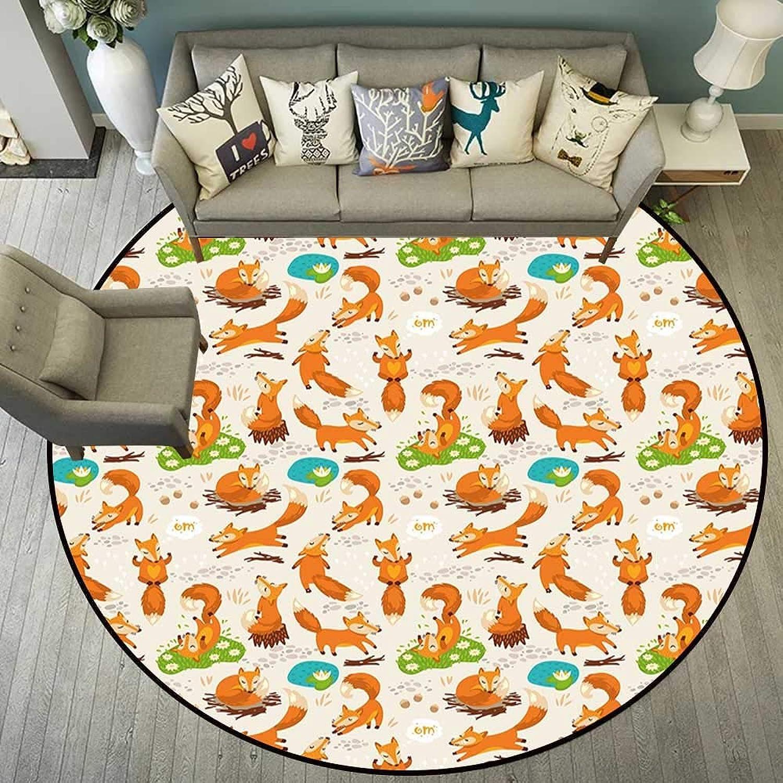 Round Floor mat Yoga Round Indoor Floor mat Entrance Circle Floor mat for Office Chair Wood Floor Circle Floor mat Office Round mat for Living Room Pattern 4'11  Diameter