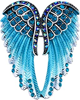Women's Guardian Angel Wing Brooch Pins & Pendants 2 in 1 - Scarf Holders - 2 x 1 Inchs - Lead & Nickle Free - Crystal & Enamel