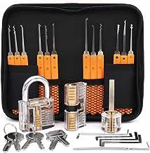 Loboo Idea 17-delars träningsset med lås med 3 genomskinliga träningslås för nybörjare och professionella låssmed (A, orange)