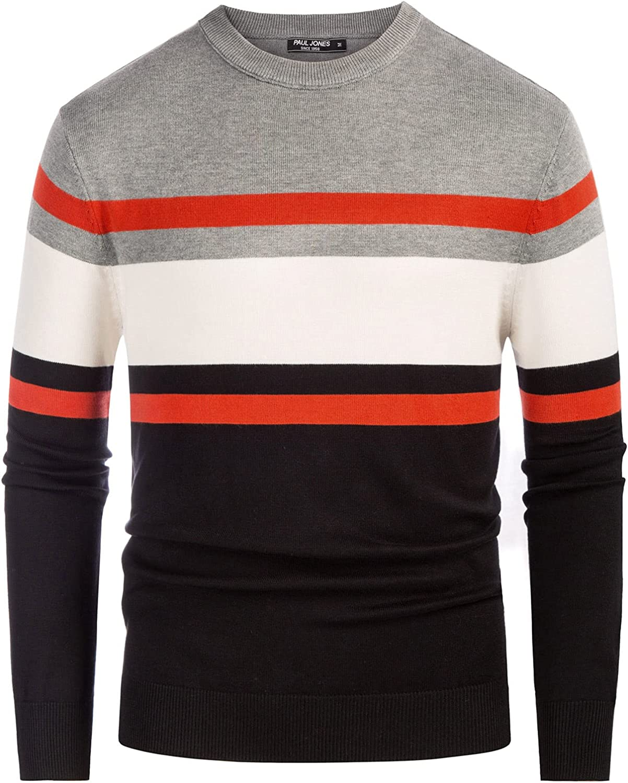 PJ PAUL JONES Mens Striped Pullover Sweater Crewneck Contrast Fine Knitted Sweaters