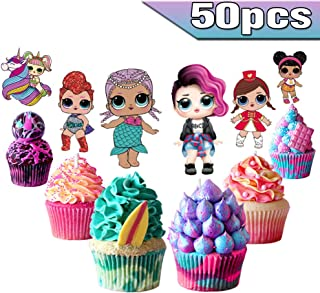 LOL Cake Toppers LOL Cupcake Toppers 50PCS, LOL Happy Birthday Party Supplies Pink Cake Decorations for Girls Theme Party