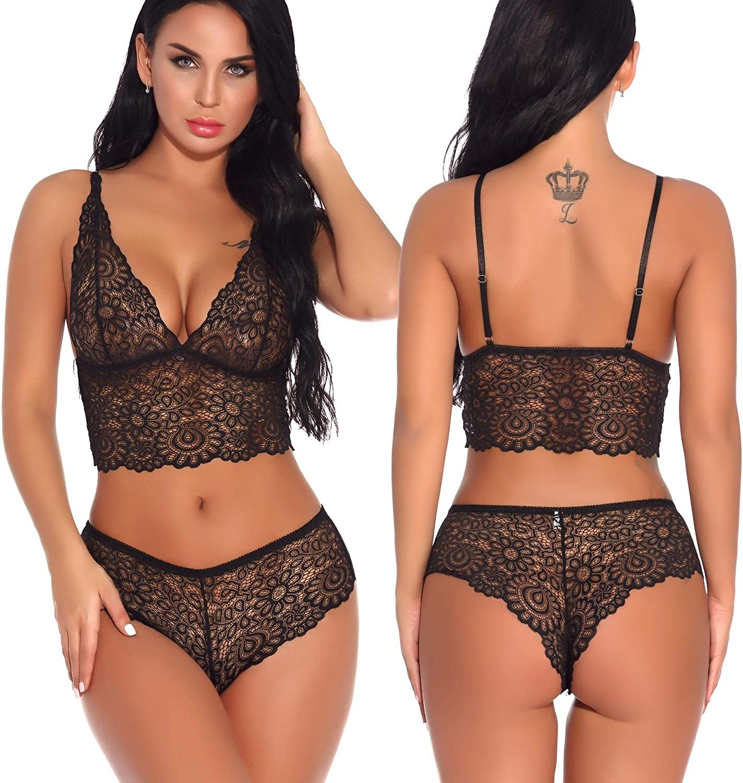 Lziizl Women Sexy Lace Bra and Panty Set Bralette Lingerie 2 Piece Babydoll Bodysuit S-XXL