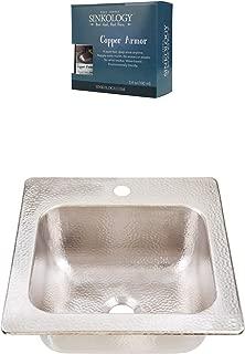 Sinkology KPD-1515HN-AMZ Homer Drop In Hammered Nickel Kitchen Sink, 15