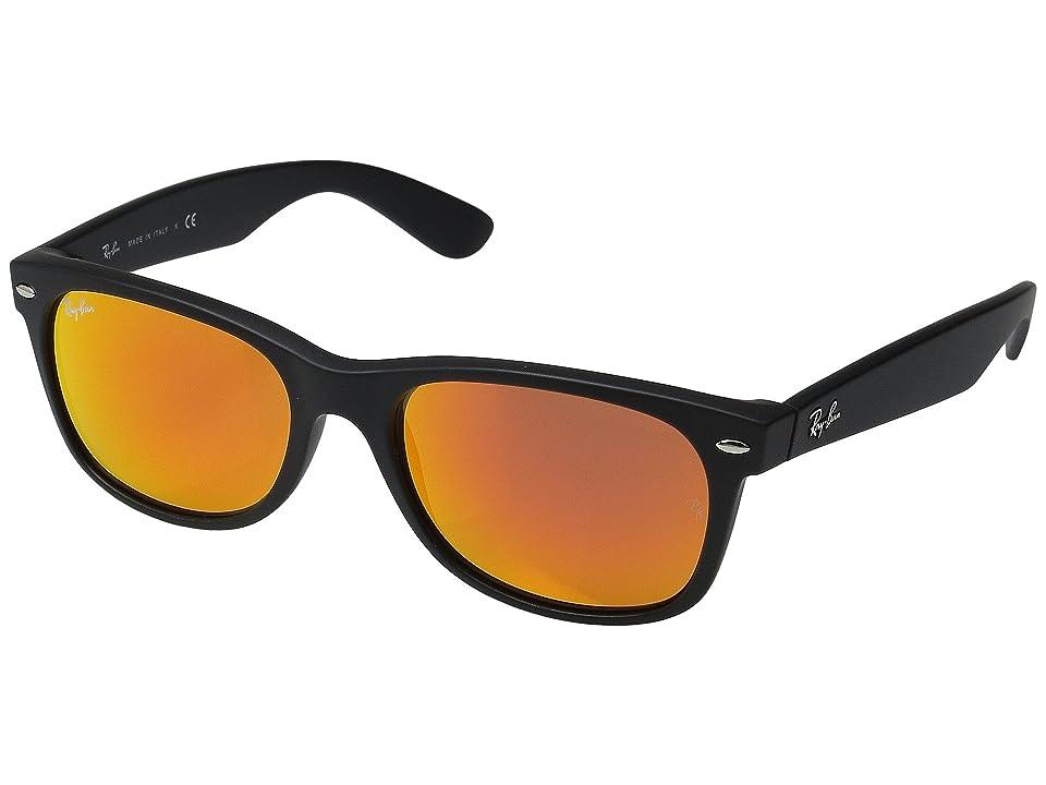 Ray-Ban RB2132 New Wayfarer 55mm (Rubber Black Frame/Brown Mirror Red Lens) Fashion Sunglasses