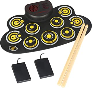 Electronic Drum Set Portable Electronic Roll Up Practice PadDrum Kit with Built in Speakers Foot Pedals,Drum Sticks,13Hours Playtime Holiday Birthday Gift for Kids Beginners