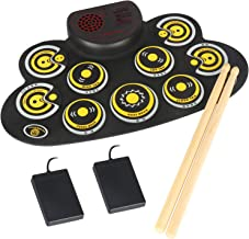 Electronic Drum Set Portable Electronic Roll Up Practice Pad Drum Kit with Built in Speakers Foot Pedals,Drum Sticks,13Hours Playtime Holiday Birthday Gift for Kids Beginners