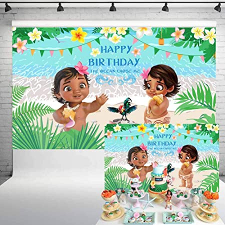 Moana Princess Backdrop Girls Birthday Party Background Photography Photo Decor