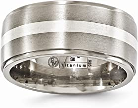 FB Jewels Solid Edward Mirell Titanium Brush&Polished W/Sterling Silver 10mm Wedding Band