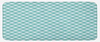 Lunarable Aqua Kitchen Mat, Retro Vintage Gingham Pop Art Style Lovers Spring Summer Inspired Artwork, Plush Decorative Kithcen Mat with Non Slip Backing, 47