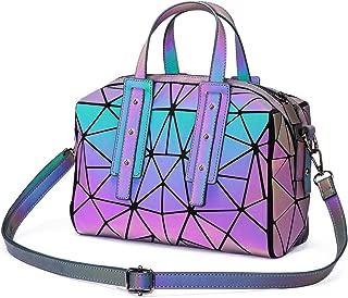 Geometric Luminous Crossbody Bags for Women Holographic Reflective Handbags Shoulder bags