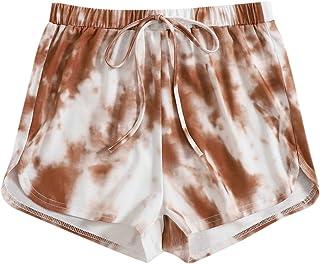 SheIn Women's Tie Dye Elastic Waist Drawstring Track Shorts Casual Short Pants