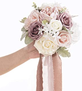 Ling's moment 9 Inch Bride Bouquet Dusty Rose Vintage Wedding Bouquet for Bridal Vintage Artificial Flowers Tossing Bouquet Rustic Wedding