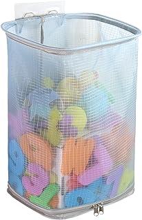 کیسه اسباب بازی حمام با دهان فوق العاده بزرگ ، کیسه مخصوص اسباب بازی وان حمام زیپ دار ، نگهدارنده اسباب بازی حمام (آبی)