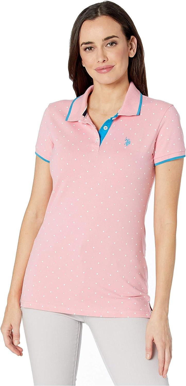 U.S. Polo Assn. Dot Print Polo Shirt Rose Geranium XS