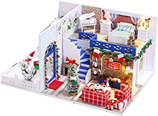 iiE Create Wooden Dollhouse Kit with Furniture DIY Miniature Doll House with Dust Cover