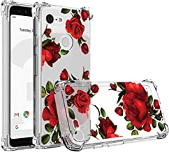 JAHOLAN Compatible with Google Pixel 3a Case Clear Cute Beautiful Red Rose Girls Floral Design TPU Soft Slim Flexible Silicone Cover Phone Case for Google Pixel 3a