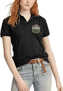 Women's Classic-Fit Polo T-Shirt Short Sleeve Black Cotton T-Shirt for Ladies