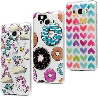 3x Funda para Samsung Galaxy J5 2016, J510 Carcasa Silicona Gel Case Ultra Delgado TPU Goma Flexible [Proceso IMD] No se descolora Anti-scrach Cover - Donuts + Corazones + Unicornio