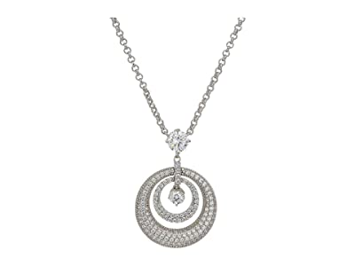 Nina Domed Hoop Pendant Necklace (Rhodium/White CZ) Necklace