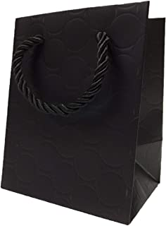 Extra Small Black Gift Bags Bulk with Luxury Handles Paper Shopping Bags (144 Bags) 4x3x5 Fancy Modern Embossed Premium Qu...