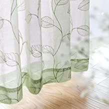 Sheer Curtains for Bedroom Rod Pocket Embroidered Leaf Window Curtains 84 inch Length Botanical Geometric Drapes Living Room 1 Pair Sage