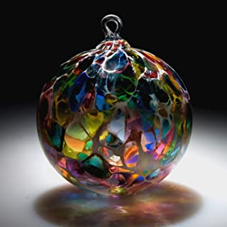 Ornament. Sun catcher. Hand blown Fine Art Glass Ornament in Magic White Powder Made in Seattle. Artist Dehanna Jones.