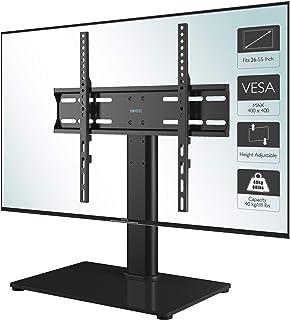 BONTEC Soporte TV Universal Soporte TV Mesa Peana para TV de 26-55 Pulgadas LED/LCD/Plasma/Curva/Plana, Altura Ajustable Plano y Curvo hasta 40 kg, máx. VESA 400x400 mm