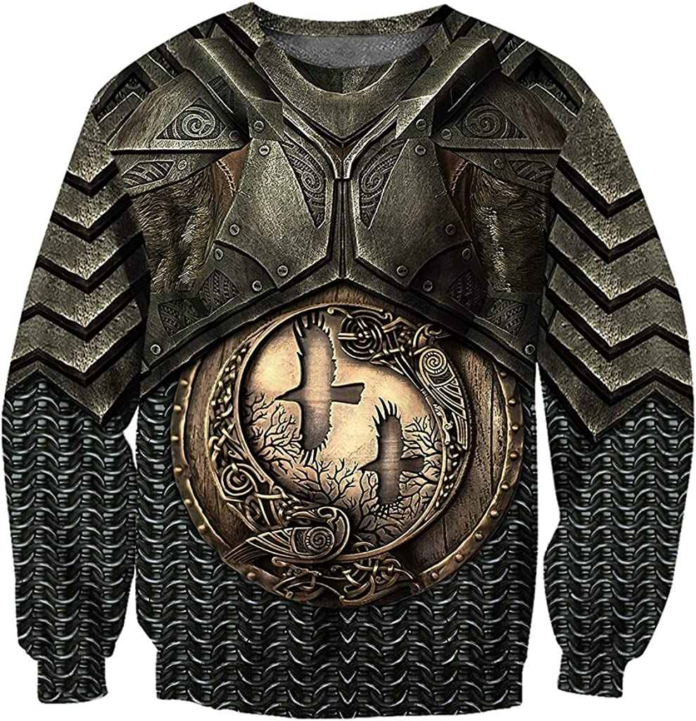 Viking Mens Crow Armor Totem 3D Print Tattoo Hoodie, Norse Odin Streetwear Long Sleeve Pullover