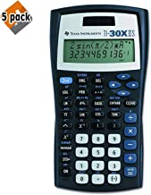 $89 » Texas Instruments TI-30X IIS 2-Line Scientific Calculator, Black with Blue Accents - 5 Pack