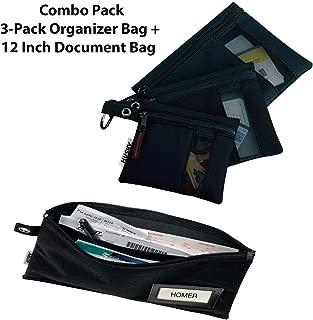 Husky Tool Bag, 3-Pack Organizer Bag + Single Document Bag 12 Inches - Black Tool Bag/Construction Site Organizer, 1680 Denier, Combo Set Heavy Duty Mesh Window, Water Resistant, Business Card Holder