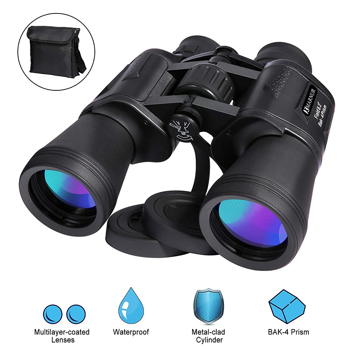 12 x 50 Binoculars for Adults Kids Professional HD Binoculars Compact Lightweight for Birds Watching Hunting Concerts Outdoor Sports Games Travel with Clear Vision & Strap Carrying Bag